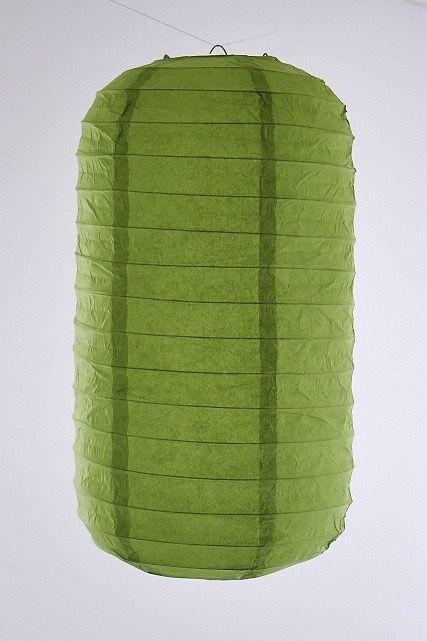 Lanterna di carta di riso da appendere Tubolare, colore Verde. Diametro 30 cm, altezza 48 cm con gancio.