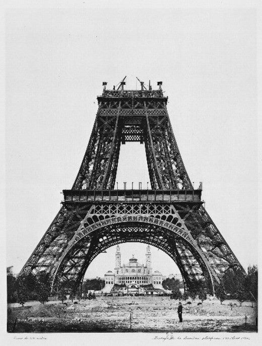 Construction of the eiffel tower 1889 retronaut paris france vintage black