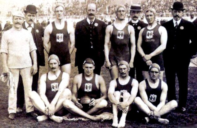 Water Polo legends: 1908, London: The winning team of Great Britain.