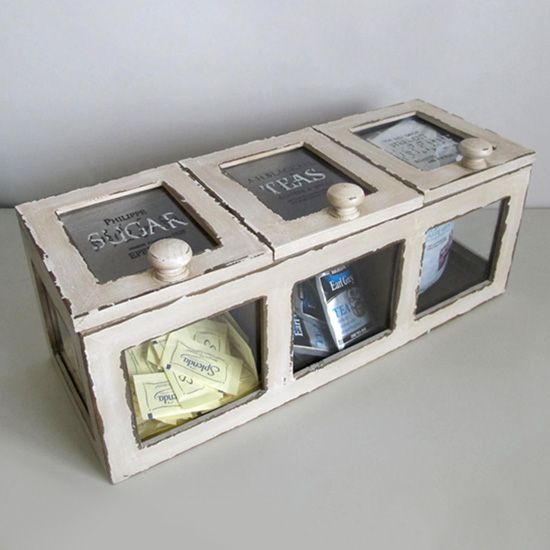 Cute idea! Maybe even in the bathroom with cotton balls, q tips etc.?: Good Ideas, Kitchen Storage, Coffee Storage, Cute Ideas, Ideas Someday, Coffee And Tea Station, Storage Ideas, Coffee Station, Diy Projects