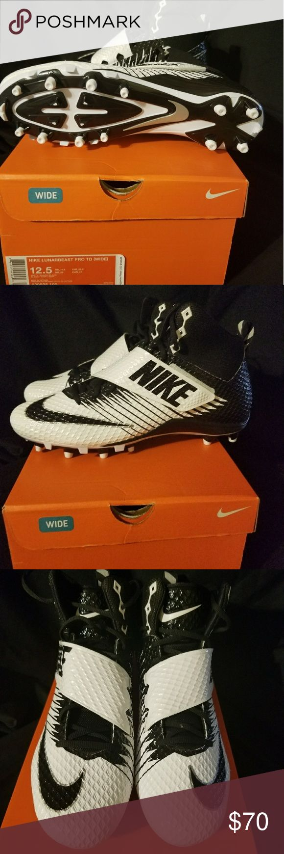NIKE lunarbeast pro td (wide) football cleats Black/white brand new with box Nike Shoes Athletic Shoes