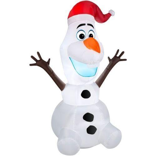 Disney Frozen Olaf w/ Santa Hat Snowman Christmas Inflatable