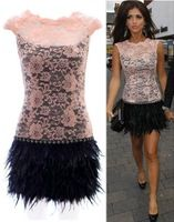 2015 New 2 Colors Sleeveless Feather Lace Dress Fashion Women Sexy Mini Dresses Vestidos Party Club Show Wear y30987