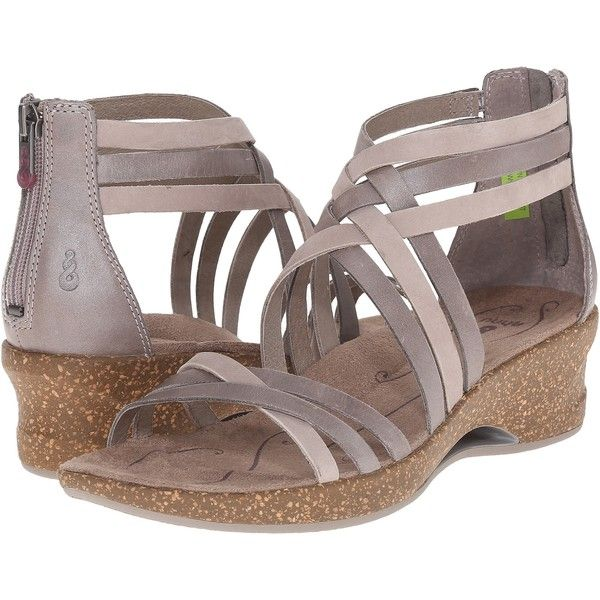 Ahnu Trolley (Mesa Taupe) Women's Dress Sandals ($50) ❤ liked on Polyvore featuring shoes, sandals, taupe, mid heel sandals, zipper sandals, arch support sandals, huarache shoes and platform shoes