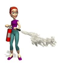 Mujer con extintor