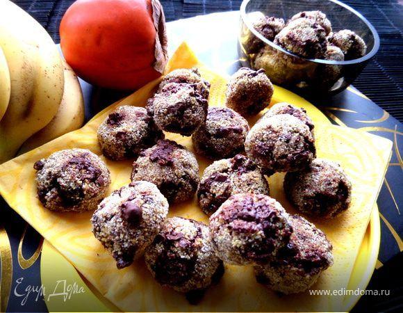 Овсяное печенье без муки и яиц. Ингредиенты: кукурузная крупа, бананы, растительное масло