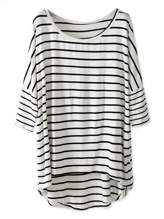 White & Black Striped Batwing Sleeve Oversized Tee is always women's best Choice. Now it is on sale, which means you can buy chic, fabulous White & Black Striped Batwing Sleeve Oversized Tee with minimum money, so don't hesitate to pick it on Nextshe.