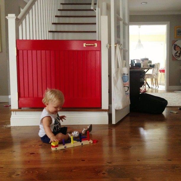 .@Brooke Baird Baird White | Homemade Stair Gate- such a good idea!!! and so cute!!