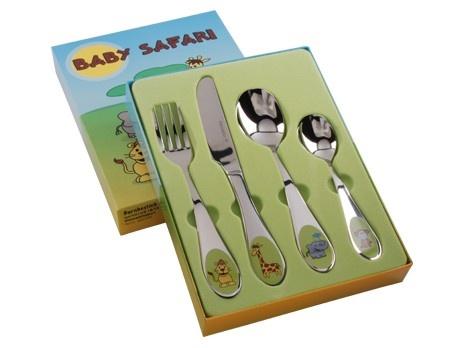 Barnbestick Baby Safari 4-del 18/10. Material: Rostfritt.