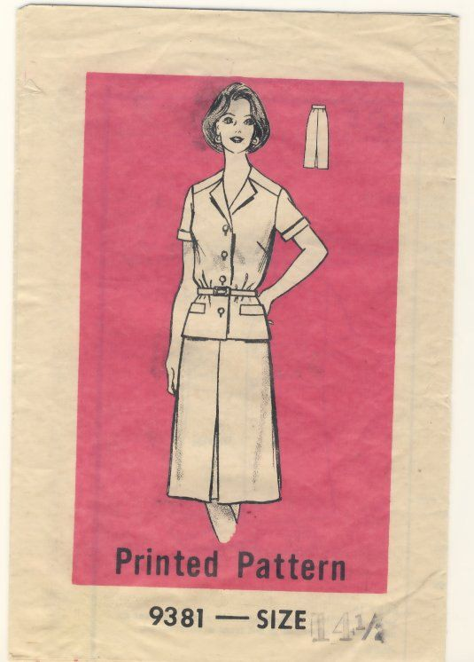 Mailorder 9381 Vintage 1970's Front Pleat Skirt and Unlined Jacket or Top  Size 14 1/2 by susanbeingsnippy on Etsy