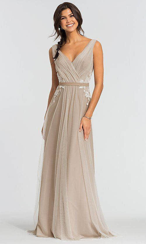 d82bdae026 Image of v-neck long tulle bridesmaid dress by Kleinfeld Style  KL-200008  Front Image