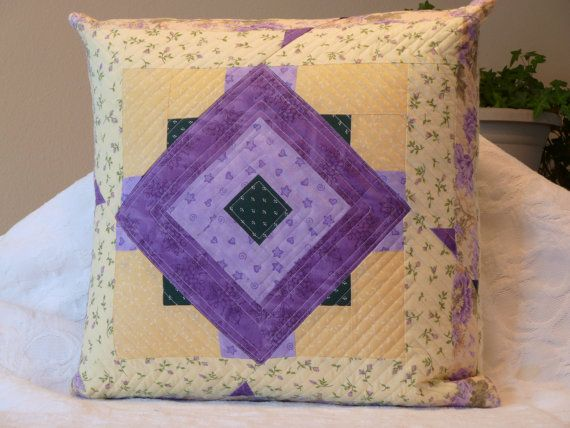 Yellow and Purple quilted pillow cover
