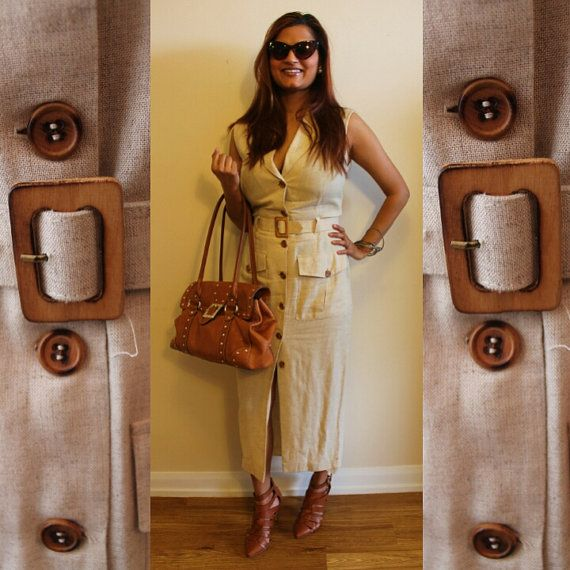 80's Lori Weidner Beige Safari Belted Dress