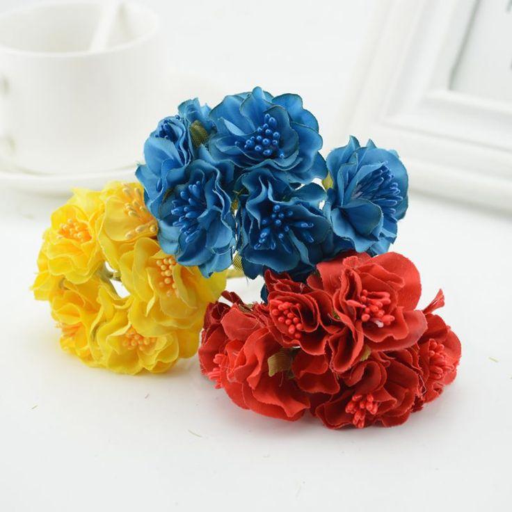 6pcs Silk Cheap Artificial Flowers For Home Wedding Car Decorative Bride Bouquet Corsage Fake Flower Garland
