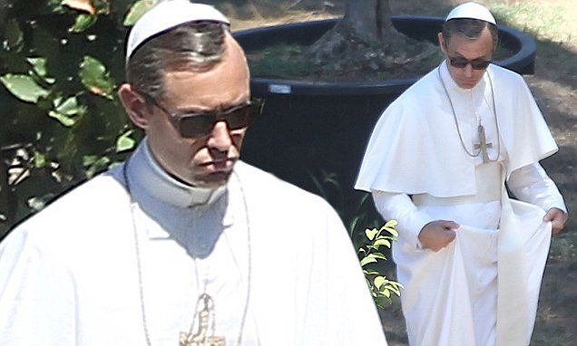 Jude Law dons full Pope costume as he films The Young Pope
