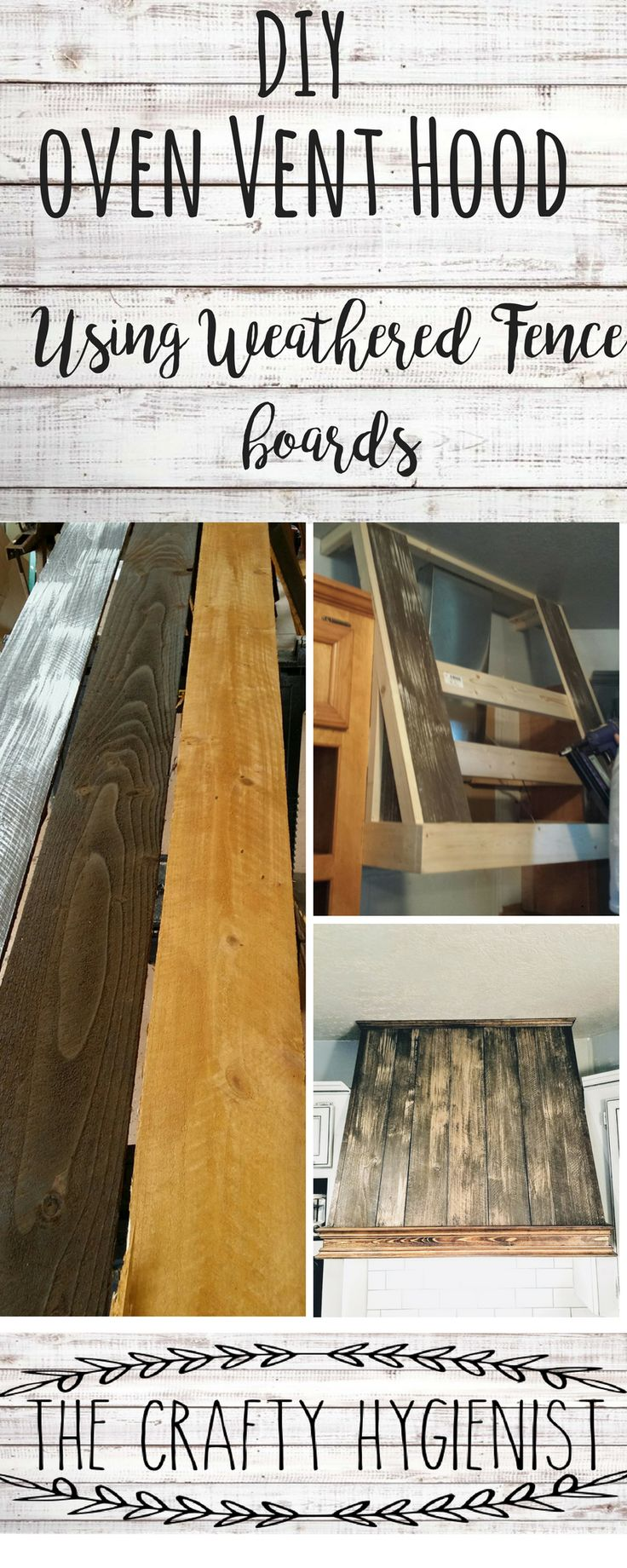 kitchen remodel using cedar fence boards to make the stove vent hood. tips on how to weather the boards and pictures of the project