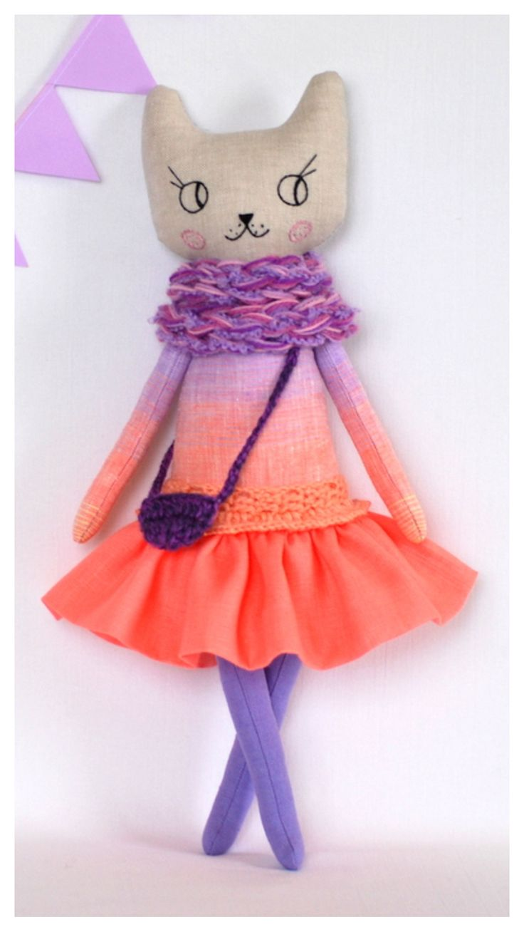 "Cat Doll 16"" , Cat Handmade Doll , Cats , Rag Dolls , Stuffed Cat , Modern Cat Doll , Cloth Doll , Fabric Doll , gift for girl"