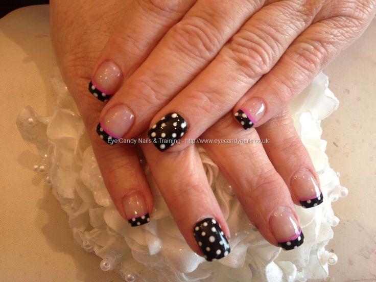 Acrylic overlay with pocker dots as nail art nails for Acrylic toenails salon