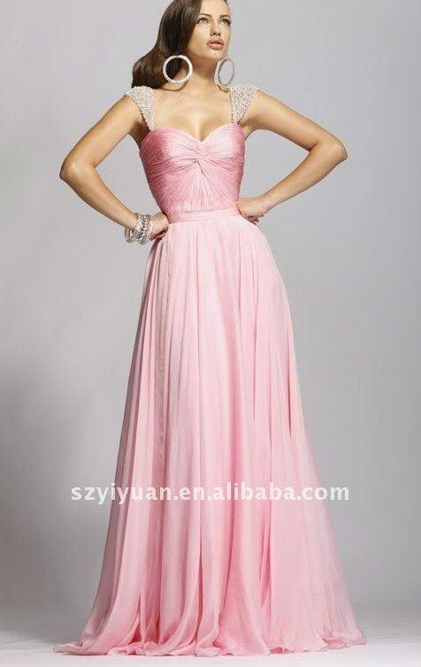 2012 new style beads crystal pink chiffon long evening dress