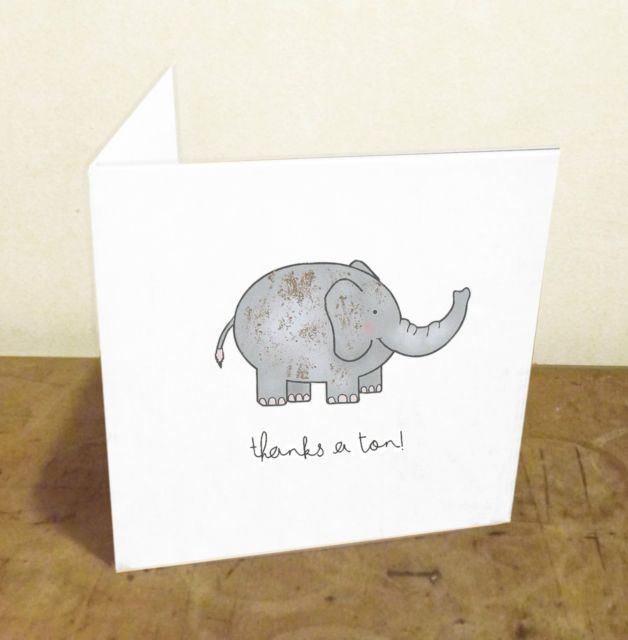 'Thanks a Ton -Funny Pun Handmade Illustrated Thank You Card w/ Gold Leaf | LeBonMot