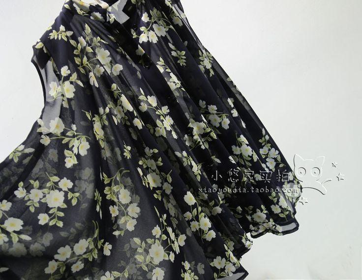 Kore moda büyük salıncak yaka kolsuz şifon gömlek büyük çiçekler çiçek, retro pelerin tarzı gömlek gömlek bayan - Taobao
