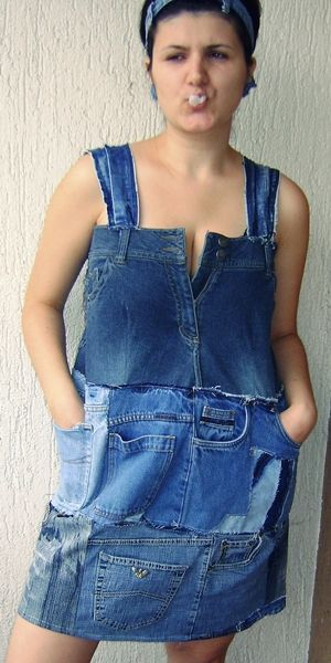 pic 019 Jeans dress in fabric  with Upcycled unique Recycled jeans Dress denim Cloth blue