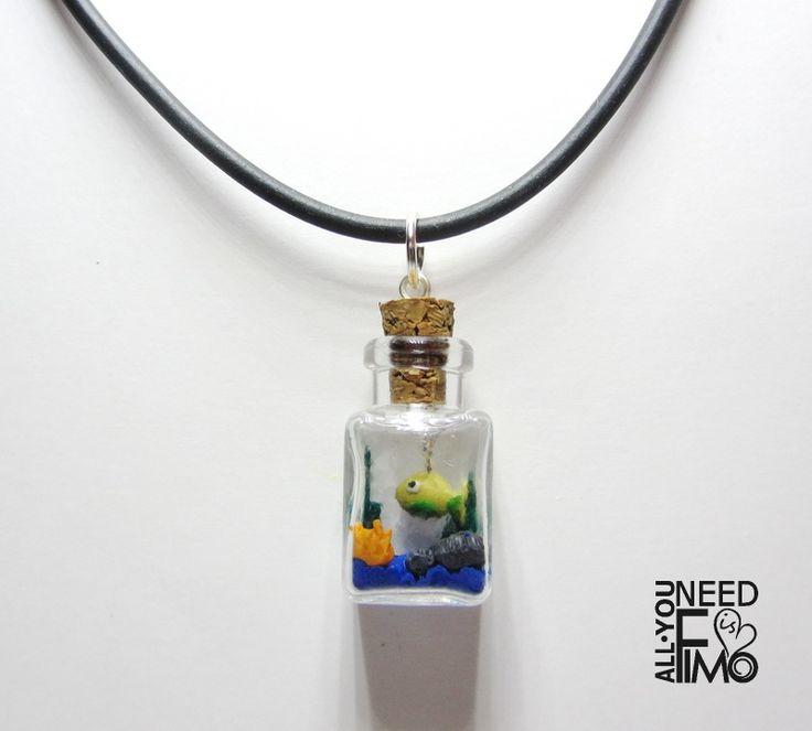 Caucciù necklace with sea in the bottle charm, now in my Etsy Shop!* AlittleMarket: https://www.alittlemarket.it/collane/it_ciondolo_boccetta_ciondolo_mare_ciondolo_pesce_pesce_boccetta_ciondolo_fimo_bottiglietta_vetro_collana_boccetta_mare_collana_caucciu_flacone_-20201672.html  #fimo #polymerclay #artigianato #fattoamano #handmade #jewelry #collana #necklace #pendant #charm #caucciù #glass #cork #bottle #flacone #boccetta #miniature #seainthebottle #fish #pesce #mare #sea #etsy #epiconetsy