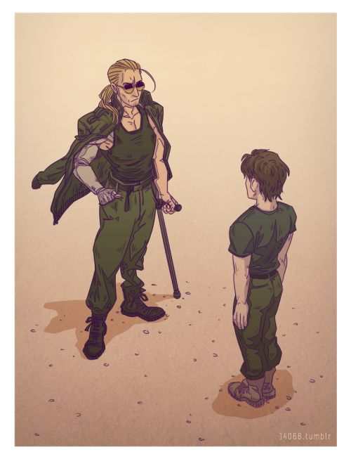 A Young Solid Snake Being Trained By Kaz Metalgearsolid Макдонелл миллер, мастер миллер, каз. young solid snake being trained by kaz