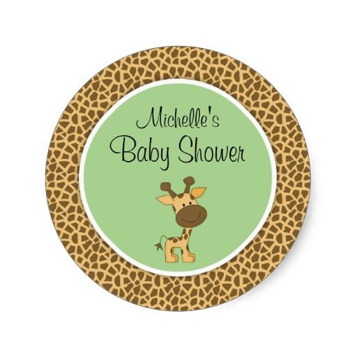 Cute green giraffe gender neutral baby shower stickers