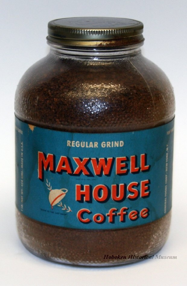 An even older Maxwell House Coffee container - this one is made of glass.  Ca. 1945-1949.  (Hoboken Historical Museum)