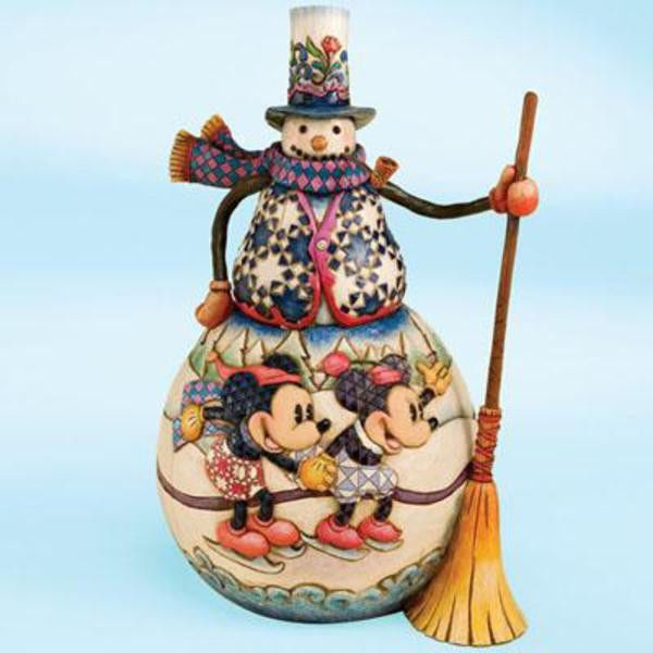Old Fashioned Holiday Snowman Mickey Minnie Jim Shore