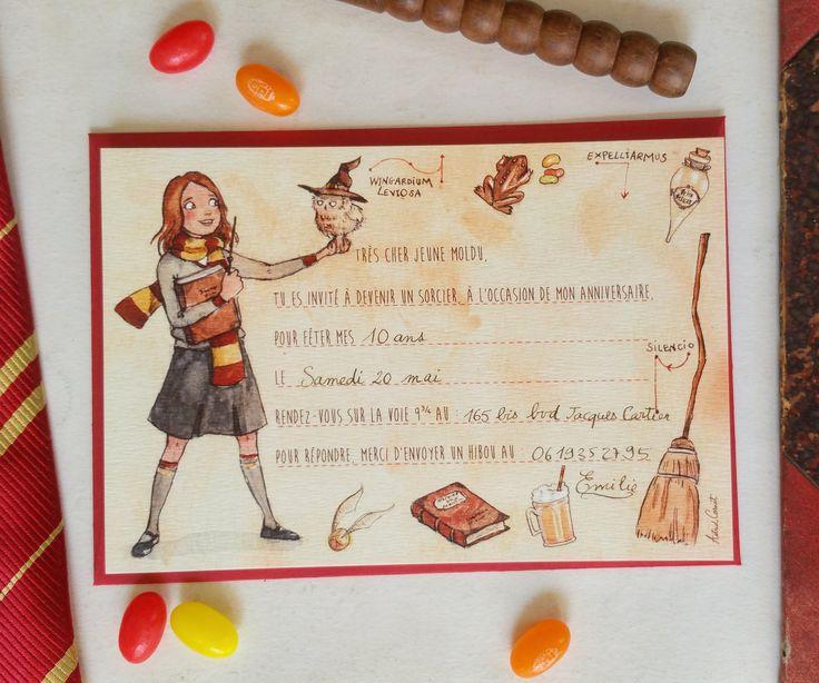 Les 23 meilleures images du tableau anniversaire enfant - Invitation anniversaire theme harry potter ...