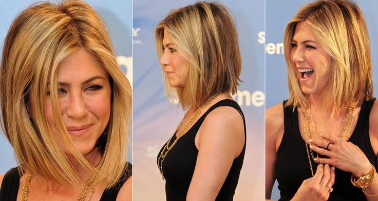 Angled Lob (Long Bob). If I ever had the balls to cut my hair. Why not do it like my girl Jen
