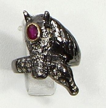 Horse Design Ring in .925 Sterling Silver with oxidized Pave Diamonds and Ruby Gemstone
