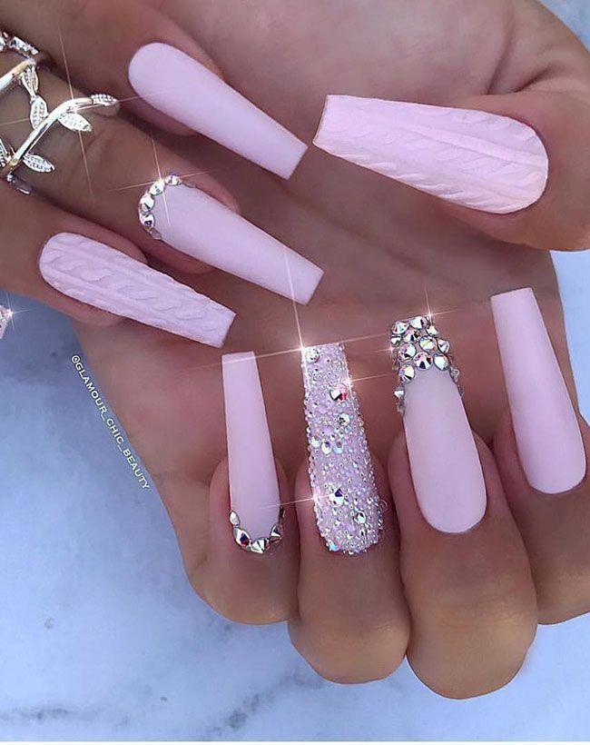 Cool Long Coffin Nail Designs Typesofnaildesigns Pink Acrylic Nails Rhinestone Nails Coffin Nails Long