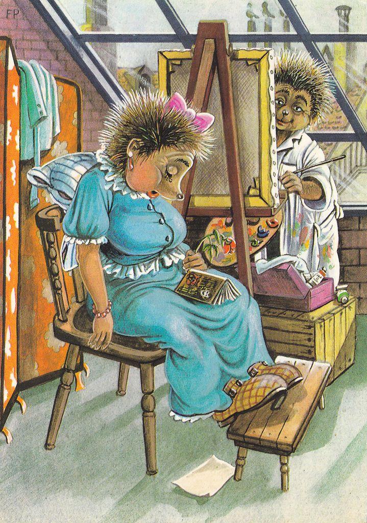 Новому году, германские открытки ежики