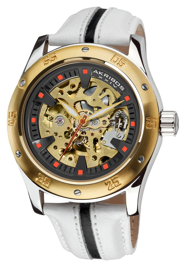 Price:$108.00 #watches Akribos XXIV AK476YG, This bold and beautiful skeleton automatic watch from Akribos XXIV will help you stay right in style. A skeleton dial gives you a clear view of the well-crafted automatic movement and this watch is encased in masculine solid case.