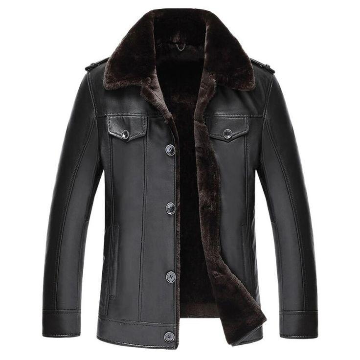 Men's Shearling Coat Australian Wool Black Genuine Leather Outerwear Mens Leather Jacket Genuine Leather Mens Jacket