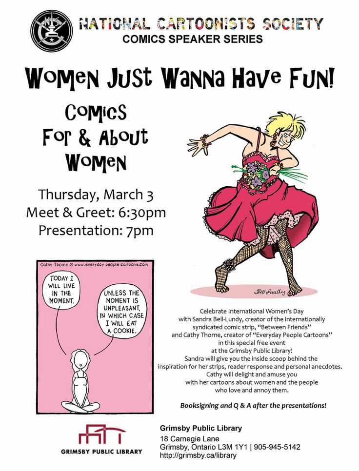 I'm giving a talk at The Grimsby Public Library (Ontario, Canada) on March 3rd with my friend Sandra Bell-Lundy  to celebrate International Women's Day, and to discuss our work as cartoonists. Come!