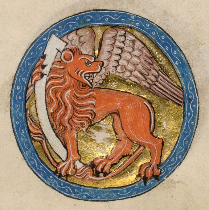 Symbol of St. Mark, the Luttrell Psalter Add MS 42130, f 49r