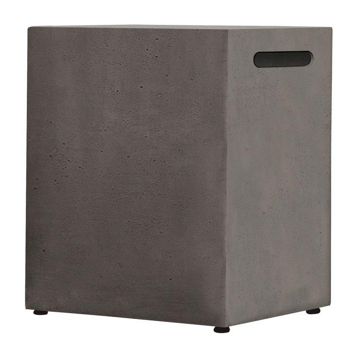 Baltic 20 lb. Lightweight Fiber - Concrete Propane Tank Cover - Square - Glacier Gray - Real Flame