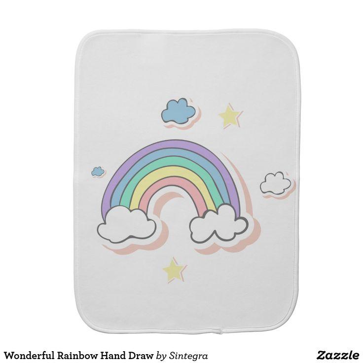 Wonderful Rainbow Hand Draw Burp Cloth