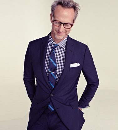 Suit gingham shirt tie with a pop of print menswear for Navy blue gingham shirt