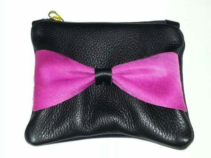 Black handmade leather clutch with pink pony skin bow