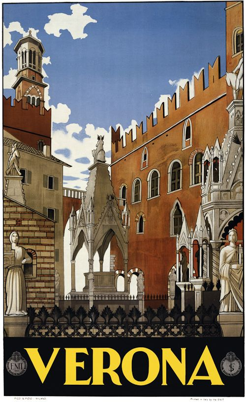 Buildings and monuments in old Verona, Italy, are featured in this vintage travel poster. Pizzi & Pizio, Milano, c. 1938.