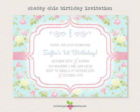 SHABBY CHIC BIRTHDAY INVITATIONS Shabby Chic Glitter Birthday