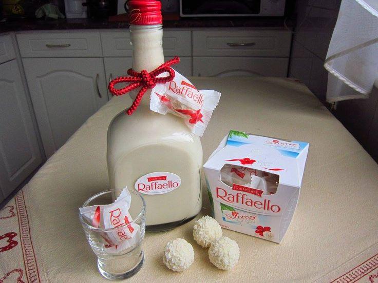 Raffaello likőr  15 db Raffaello golyó 3 dl tej 7 dkg cukor 2,50 dl tejszín 2 dl vodka   A Raffaello golyókat a tejjel, cukorral botmixerrel alaposan összekeverjük, majd hozzáadjuk a tejszínt és a vodkát, újra összekeverjük, és fogyasztásig  hűtőben tároljuk.