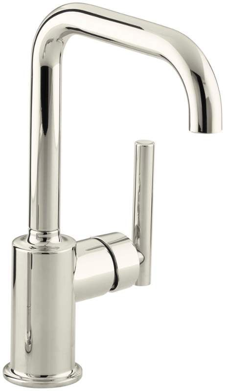 Kohler K-7509 Single Handle Bar Faucet from the Purist Collection Vibrant Polished Nickel Faucet Bar Single Handle