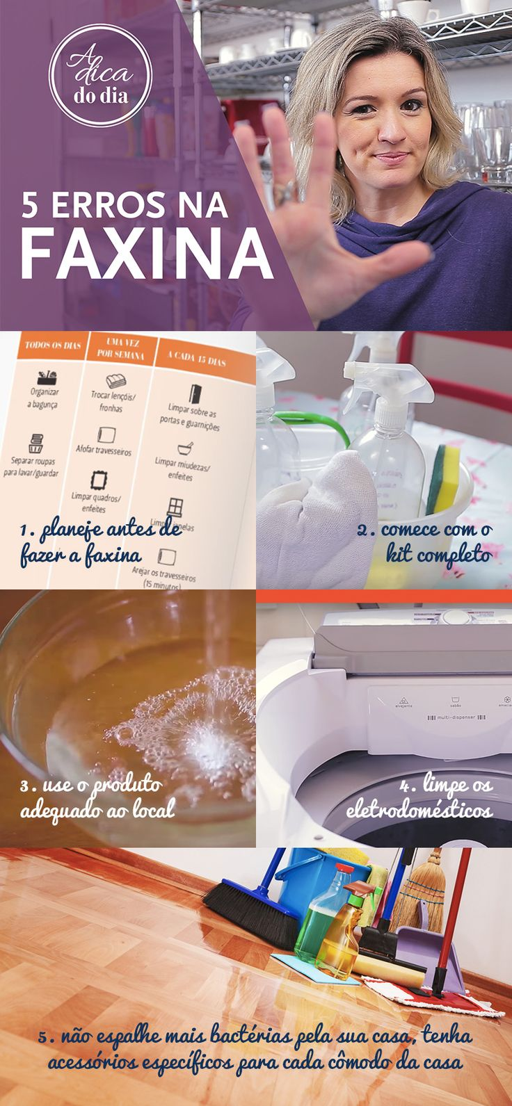 DICAS PARA NÃO ERRAR NUNCA MAIS NA FAXINA: Saiba como tornar a faxina mais organizada, rápida e funcional para manter a casa limpa. Livre-se de poeiras, ácaros e bichinhos indesejados...