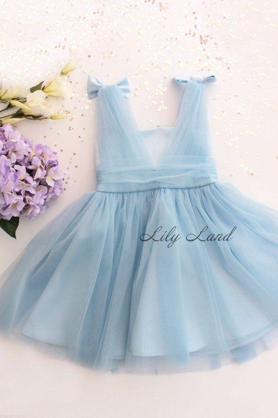 fd8591dd2 Blue Baby Girl Dress Stunning Tulle Infant dress Toddler Flower Girl ...